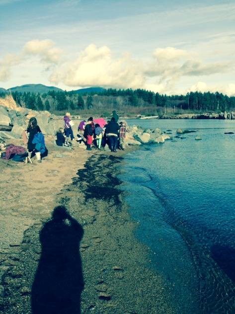 Kelly Creek Community School students collecting seawater from the Lang Bay Estuary in Powell River BC.