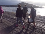 Grade 8 students from the Bella Bella Community School walk to the shore to collect their sample on Friday the 13th.