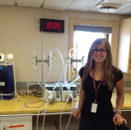 Saskia Kowallik at her lab bench where she'll be spending oodles of time over the next three weeks.