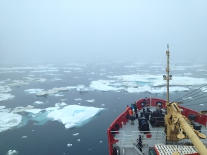 Sailing through sea ice.