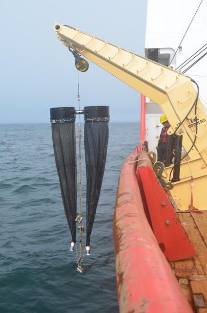 Bongo plankton net for zooplankton samples.